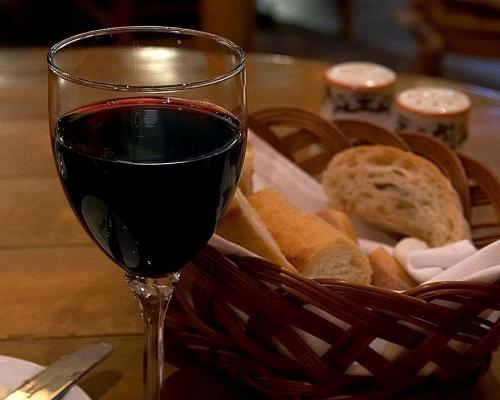 wine glass and bread