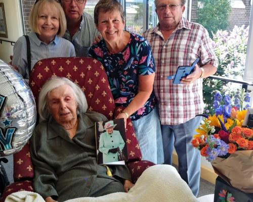 105 year old Doris Keating with members of her family at Norwichs Thomas Tawell House