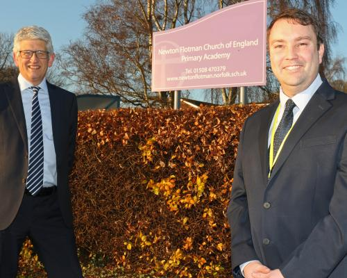 Adam Riley right head teacher at Newton Flotman Primary Academy with St Benets Trust CEO Richard Cranmer
