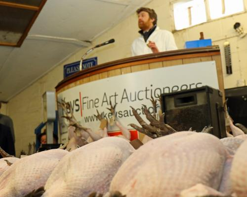 Auctioneer David Gould on the rostrum at the Keys annual Christmas poultry sale