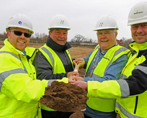 Cutting the first sod at Reydon are from left Mark Walker Cllr Chris Punt Cllr Barrie Remblance and Paul Pitcher sm