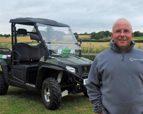 Electric Wheels MD Chris Hurdle with one of the new electric work buggies