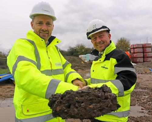 Greg Dodds of Orwell left and Paul Pitcher of Wellington cut the first sod at Fairview Road Halesworth sm