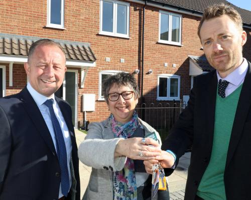 Handover of nine affordable homes at Adshead Court Norwich sm