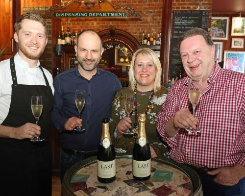 Head chef Iain McCarten partner Ecky Limon manager Emma Swatman and partner James Sawrey Cookson toast the Last Wine Bars 28th birthday sm