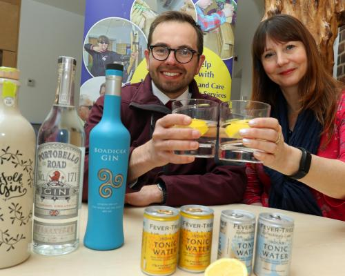 Johnny Wyndham of VanVino and Donna Minto of the NNAB toast a successful gin night which raised over 900 for the charity sm