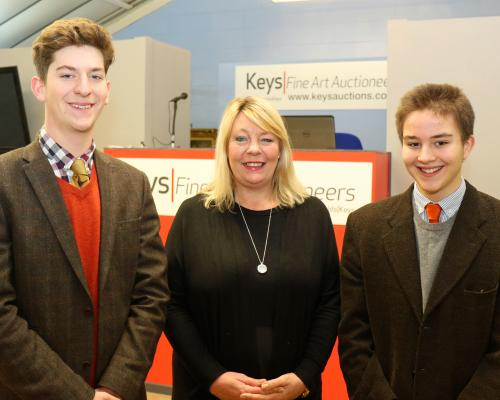Keys Fine Art Auctioneers apprentices Oscar Crocker left and Freddie Knight with associate director Tracey Rust Andrews