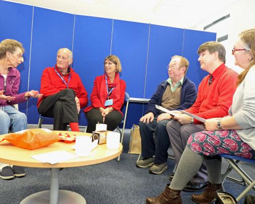 Members of the NNAB Thetford Audio Book Club meet to discuss the latest book sm
