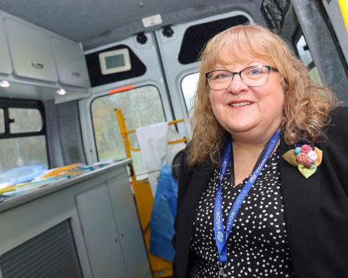 Michele Burgess Vision Norfolk Eye Clinic Liaison Officer in the mobile unit at QEH Kings Lynn sm