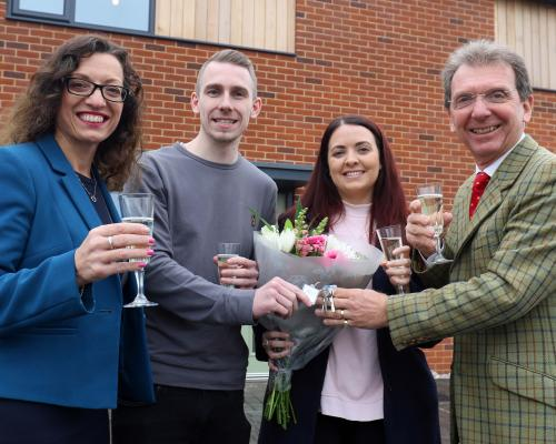 Mike Bunn and Emma Wright receive their keys from Tony Abel right and Clare Cornish left of Abel Homes sm
