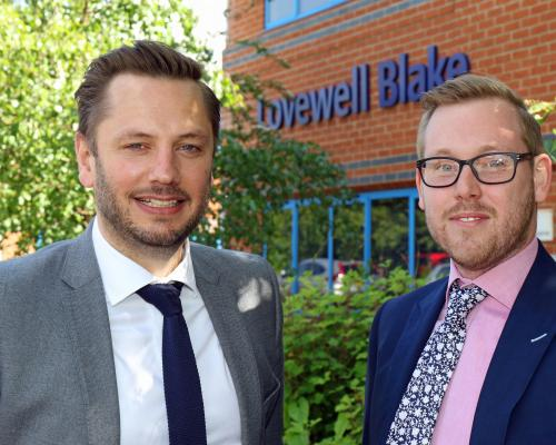 New Lovewell Blake Corporate Finance specialist Ben Anstee right with partner Matt Crawley sm