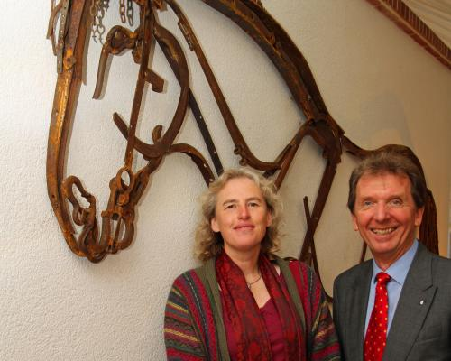 Norfolk artist Harriet Mead with Tony Abel of Abel Homes at a previous artwork unveiling in Watton sm