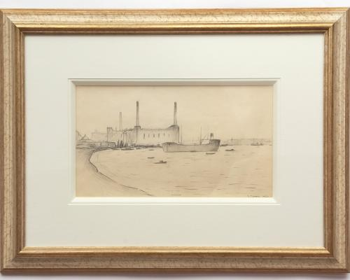 Tanker at Greenwich by L.S. Lowry sold for 14500