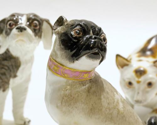 Three Meissen animal figures from left Bolognese terrier pug and crouching cat