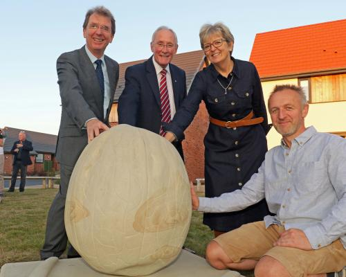 Unveiling of new walnut artwork at Mattishall sm