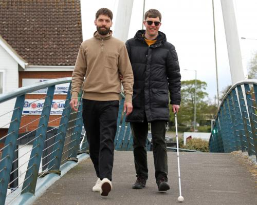 Volunteer Matt Lawley left and blind fundraiser Ed Bates get in training for the Broads Walk Challenge sm