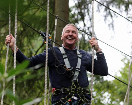 Visually impaired Ringstead man Peter Gyton tackles the Go Ape treetop course 2