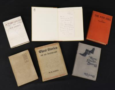A selection of books by ghost story writer M.R.James featuring in Keys June Book Sale
