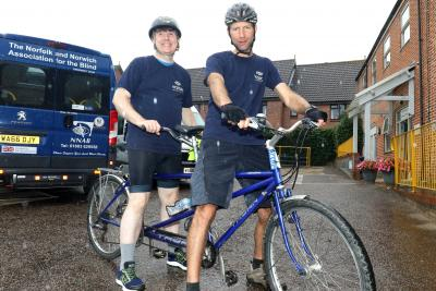 Blind cyclist Mark Smith left and sighted rider Tom Page prepare to take on this years Tour de Broads cycling event sm