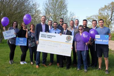 Great Yarmouth Round Table cheque presentation to Nelsons Journey