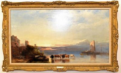 Henry Bright Castle With Wherries And Cattle Watering At Dawn estimate 3500 5000