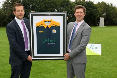 Hingham Cricket Club chairman Daniel Key left with Chris Abel from club sponsor Abel Homes sm