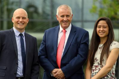 New managers at Lovewell Blake Shaun Davison left and Sophie Palmer with senior partner Paul Briddon sm