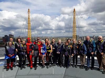 The visually impaired climbers and superheroes from Norfolk on top of the O2 in London